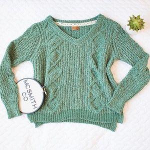 POL | Chunky Green Chenille Diamond Knit Sweater